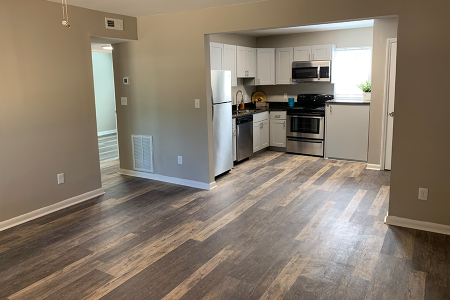Additional View of Living Area open to kitchen at Wynwood Place Estates Raleigh NC Apartment For Rent