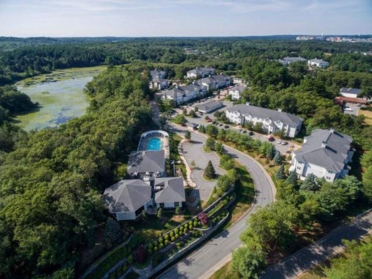 Aerial View of The Preserve Apartments in Walpole, MA