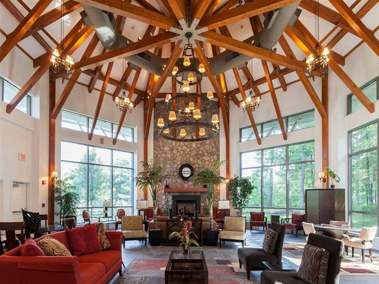 Community Space With High Ceilings at The Preserve Apartments in Walpole, MA
