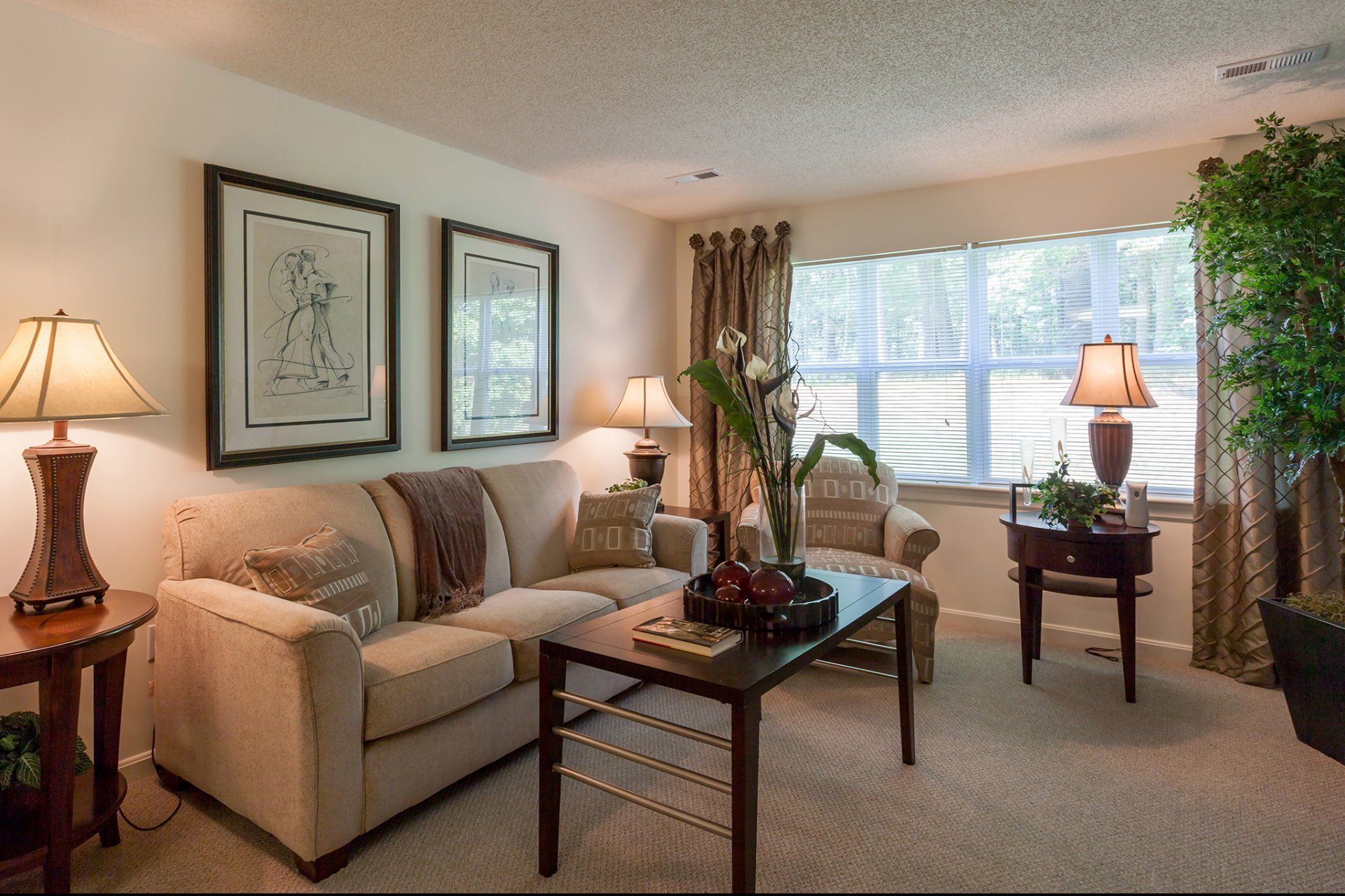 Living Room with Carpeted Flooring at The Preserve Apartments in Walpole, MA