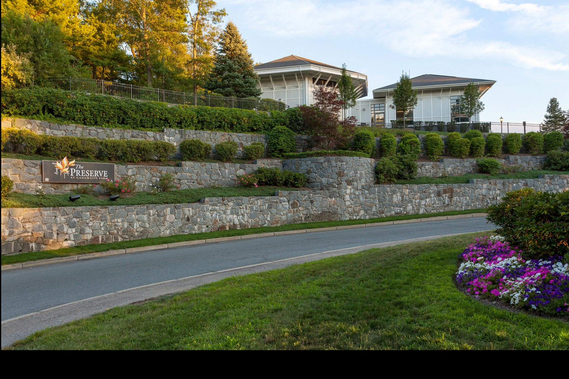Lush Landscaping at Property Entrance at The Preserve Apartments in Walpole, MA