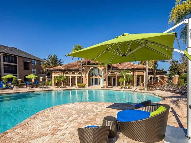 Poolside Relaxing Area at Verano Apartments, Kissimmee, 34744