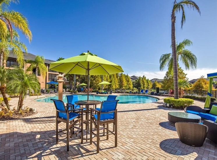 Poolside Dining Tables at Verano Apartments, Florida