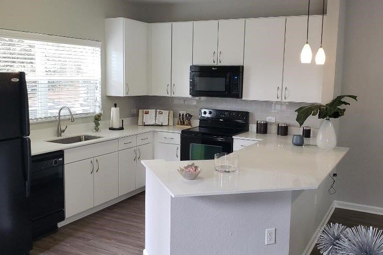 black appliance package at verano apartments, florida