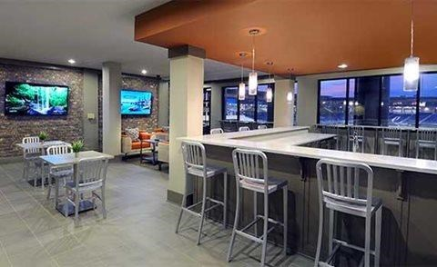 Elegant Social Room and Coffee Bar at The Views at Coolray Field, Lawrenceville, GA, 30043