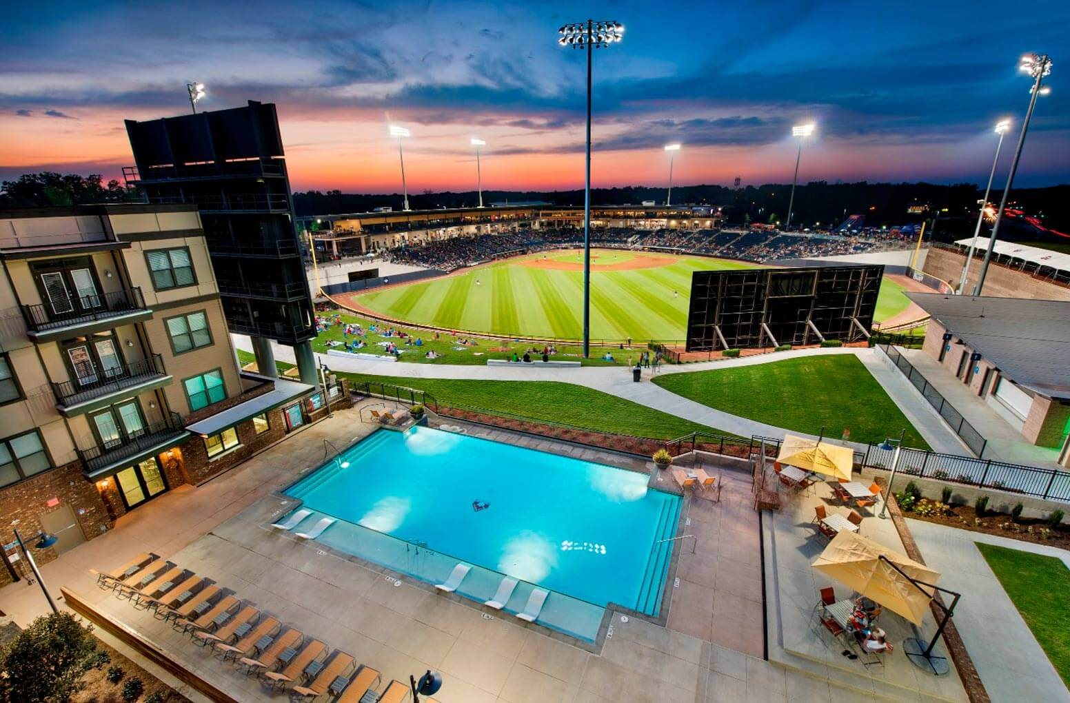 Aerial View of Pool at The Views at Coolray Field, Lawrenceville, Georgia