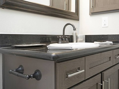Solid Cultured Marble Bathroom Counter Tops at Fountains at Champions, Houston, Texas