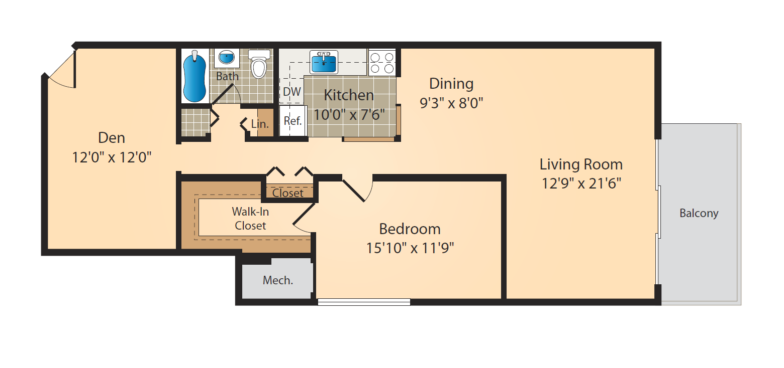 1 Bed 1 Bath-Den Sm Floor Plan 4