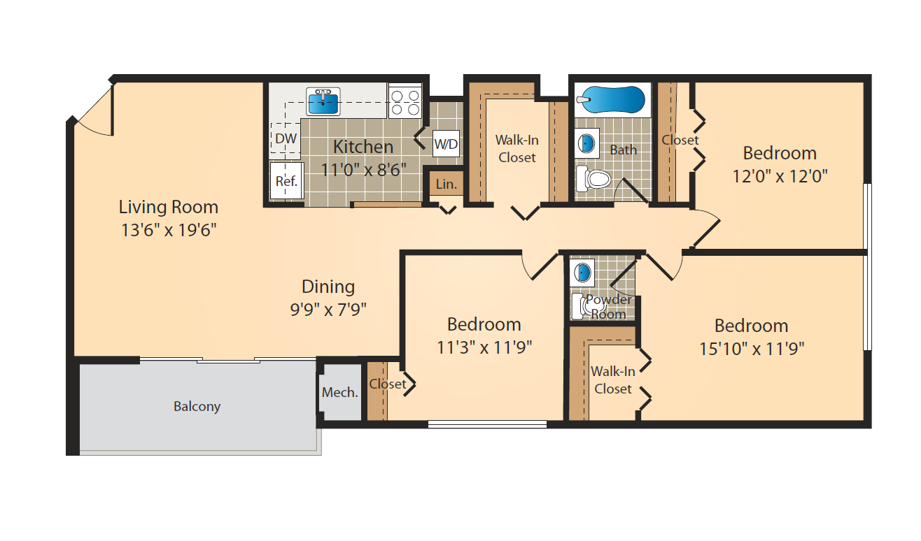 3 Bed 1.5 Bath Floor Plan 6