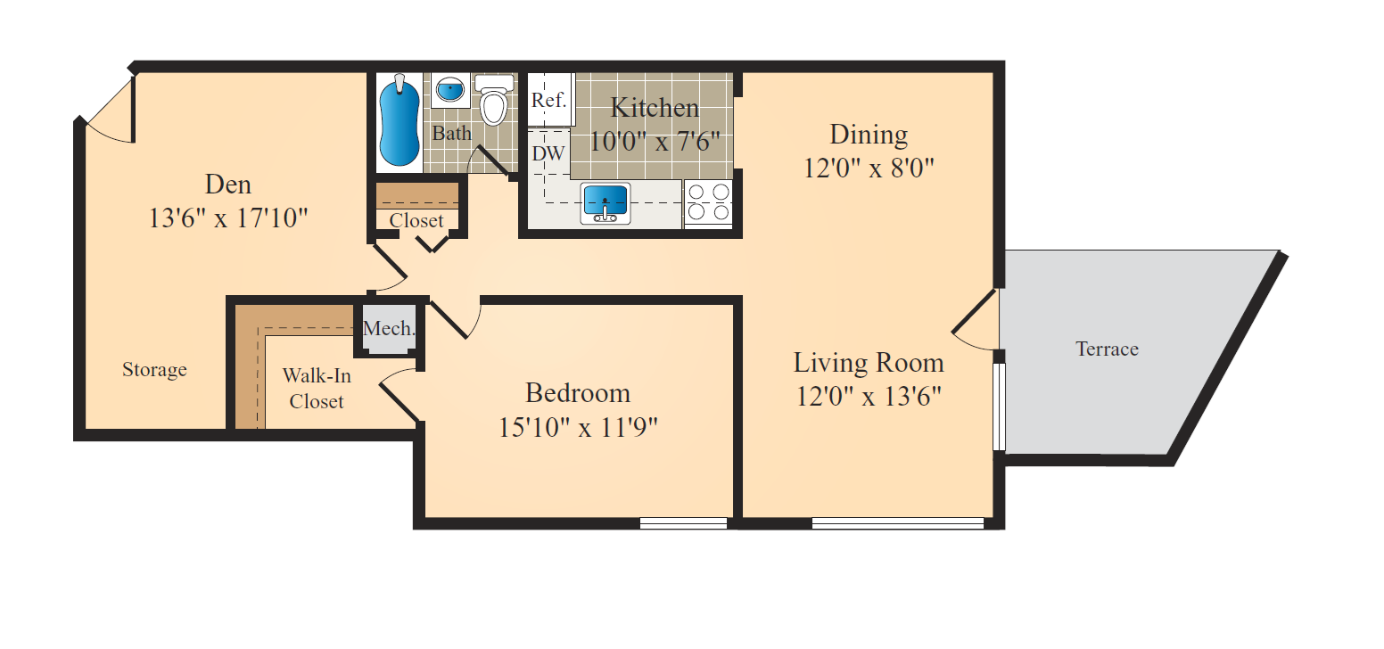 1 Bed 1 Bath-Den Lg Floor Plan 3