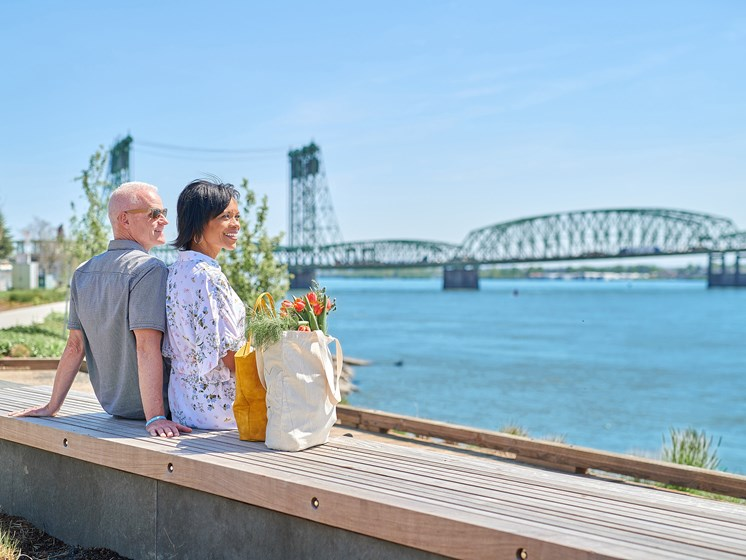 Older couple enjoying scenic view of Columbia River