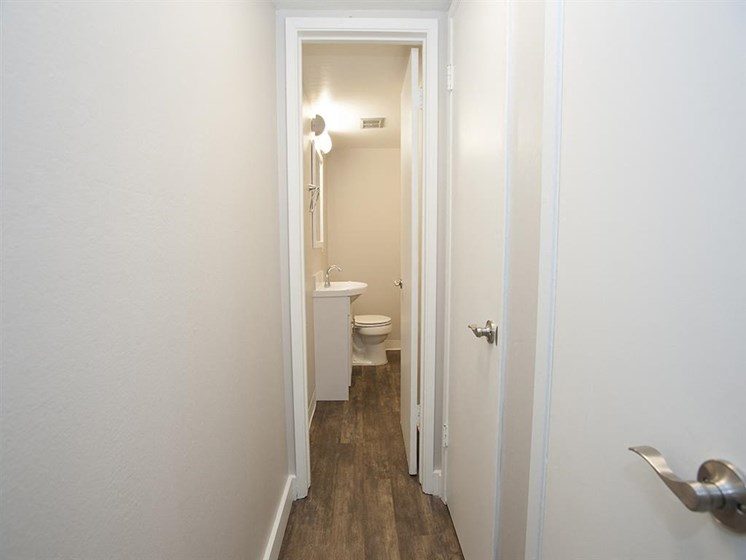 Hallway/bathroom at Monterey Townhouse, Monterey, CA, 93940