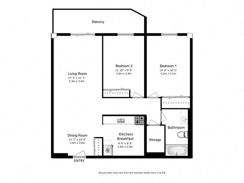Two bedroom, one bathroom apartment layout at Wellington Park Towers in St. Thomas, ON