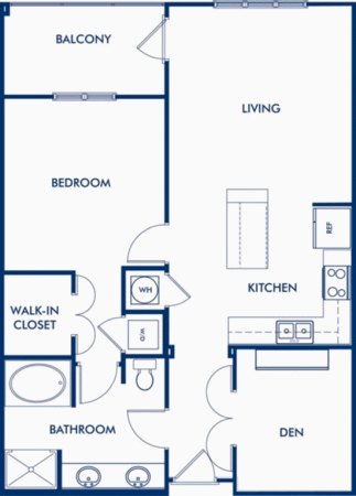 The Centennial - 1 Bedroom with Den Floor Plan 1