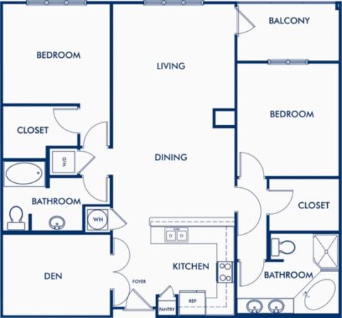 The Highlands - 2 Bedroom with Den Floor Plan 4