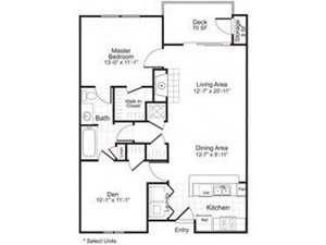 Sailpointe at Lake Norman|B1 Floor Plan 2 Bed 1 Bath