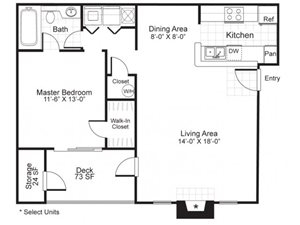 Paces Pointe|A3  Floor Plan 1 Bed 1 Bath