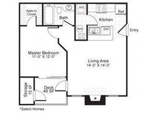 Paces Pointe|A1 Floor Plan 1 Bed 1 Bath
