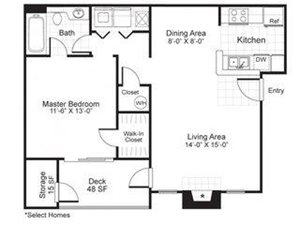 Paces Pointe|A2 Floor Plan 1 Bed 1 Bath