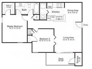 Paces Pointe|B1  Floor Plan 2 Bed 1 Bath