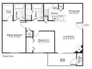 Paces Pointe|B2  Floor Plan 2 Bed 2 Bath