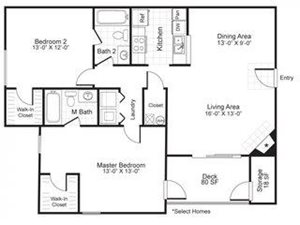 Paces Pointe|B3 Floor Plan 2 Bed 2 Bath