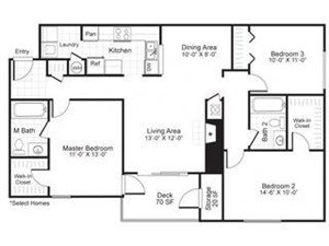 Paces Pointe|C1 Floor Plan 3 Bed 2 Bath