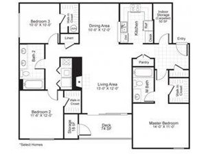 Paces Pointe|C2 Floor Plan 3 Bed 2 Bath