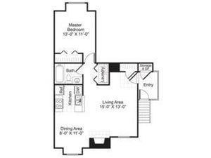 Central On The Green Floor Plan A1 1 Bed 1 Bath