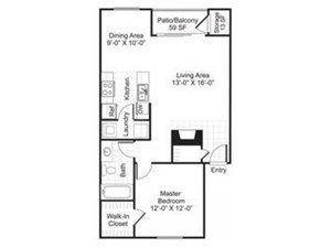 Central On The Green Floor Plan A2 1 Bed 1 Bath