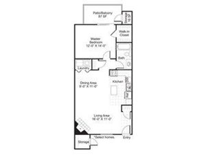 Central On The Green Floor Plan A3 1 Bed 1 Bath
