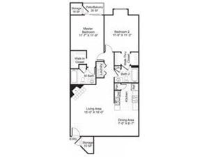 Central On The Green Floor Plan B1 2 Bed 2 Bath