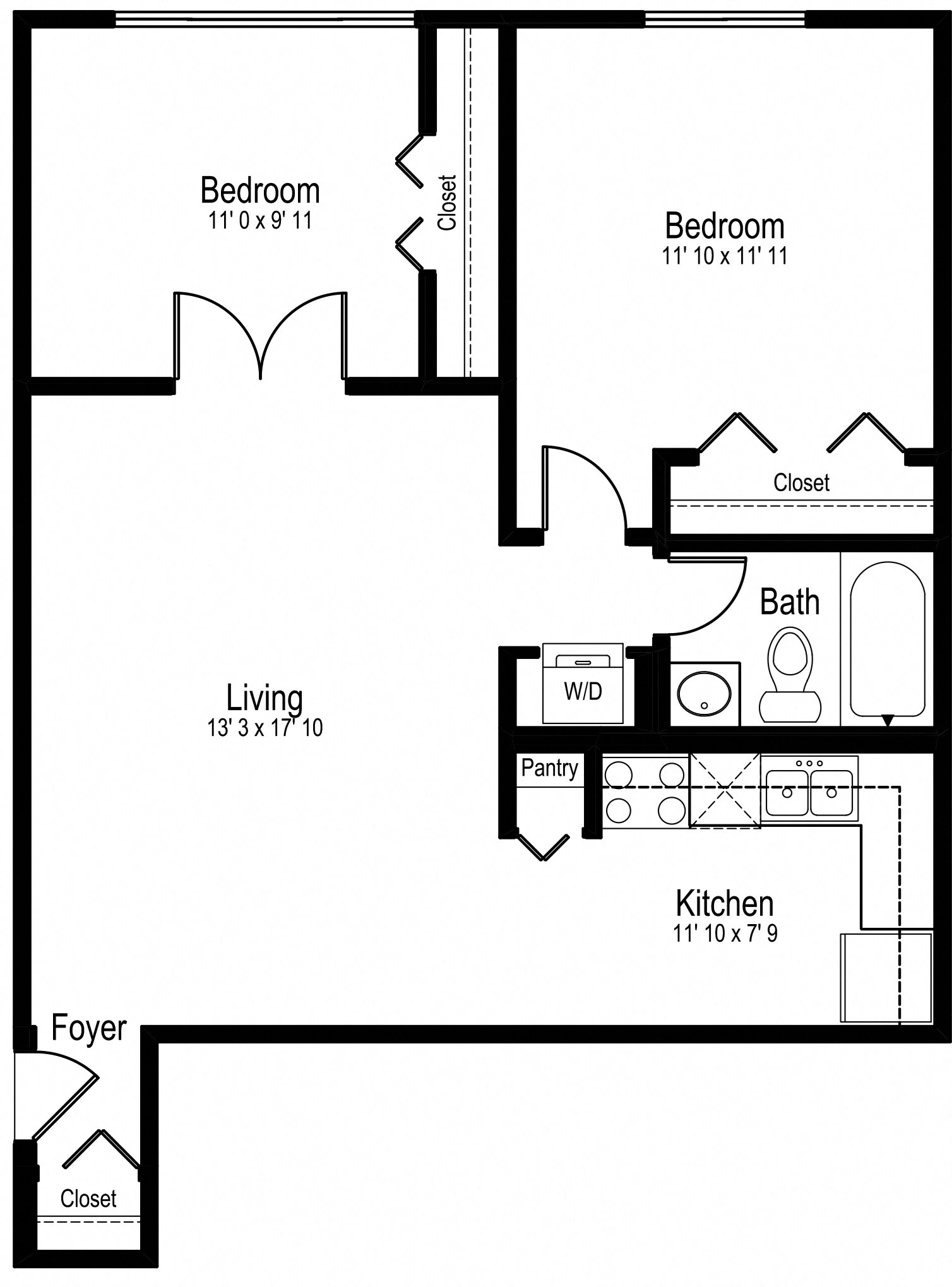 One Bedroom One Bath Large Floor Plan 4