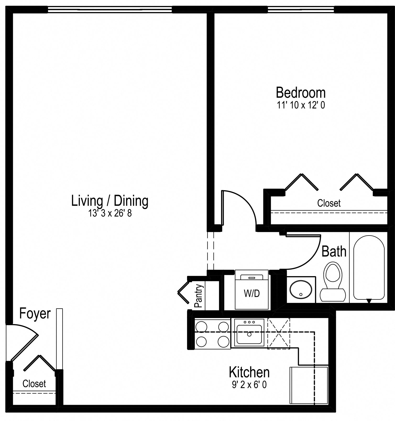 One Bedroom One Bath Medium Floor Plan 3