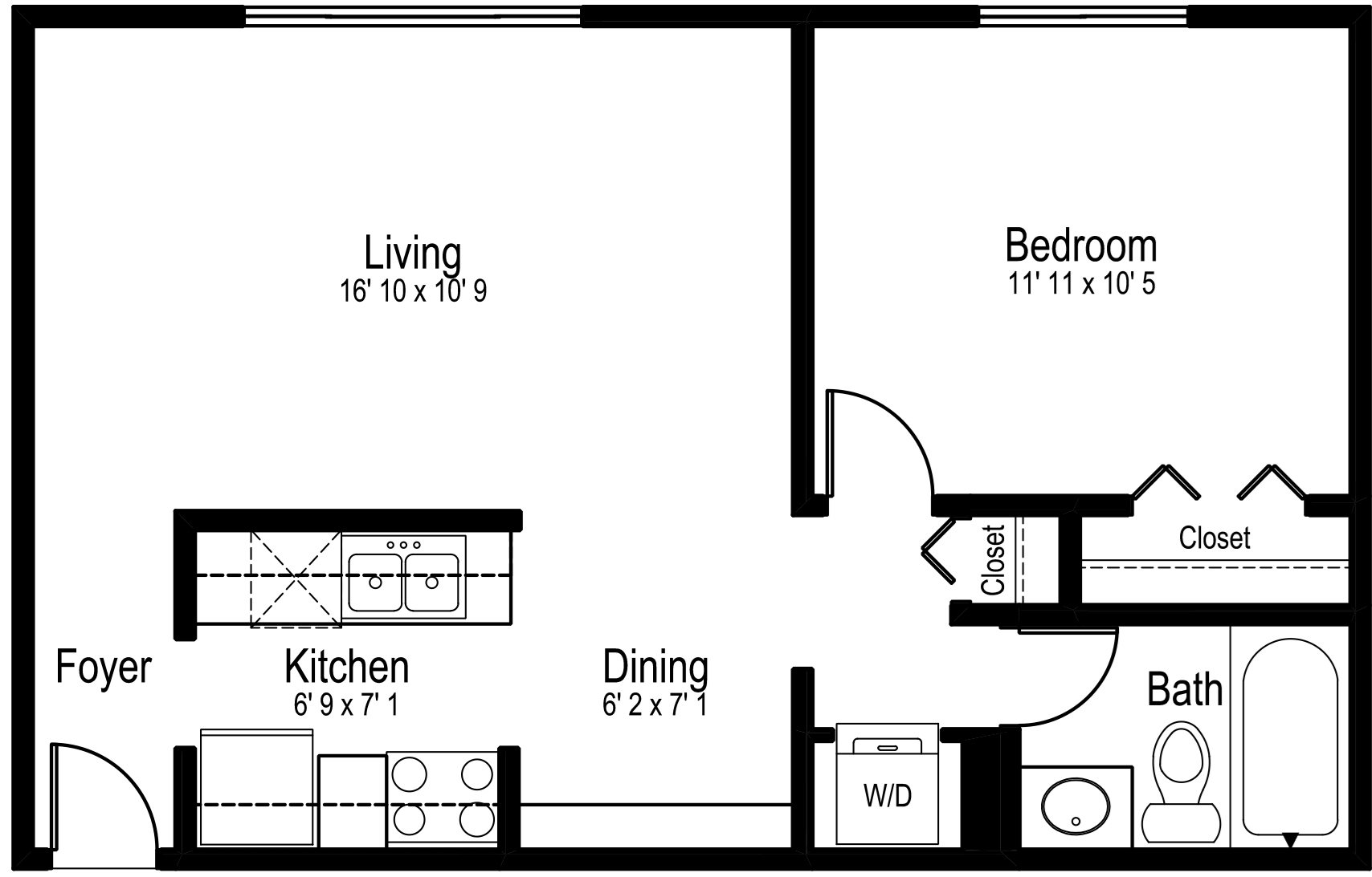 One Bedroom One Bath Small Floor Plan 2