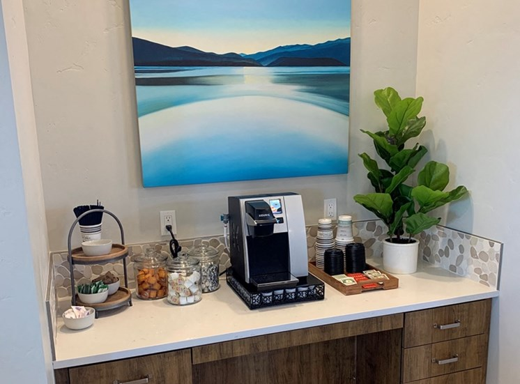 Reception Desk with Coffee