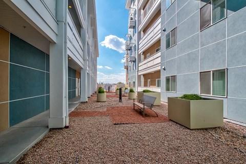 exterior rock area between apartment buildings