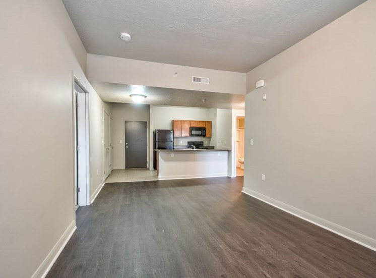 empty living room with plan flooring
