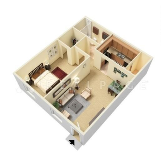 One Bedroom, One Bath Floor Plan 1