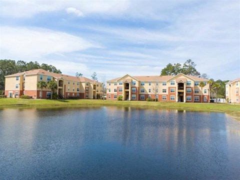 Grande Court Lake and Building Exterior