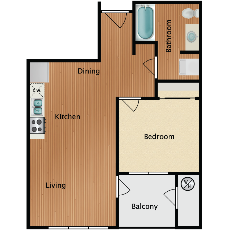 1X1 C Floor Plan 5