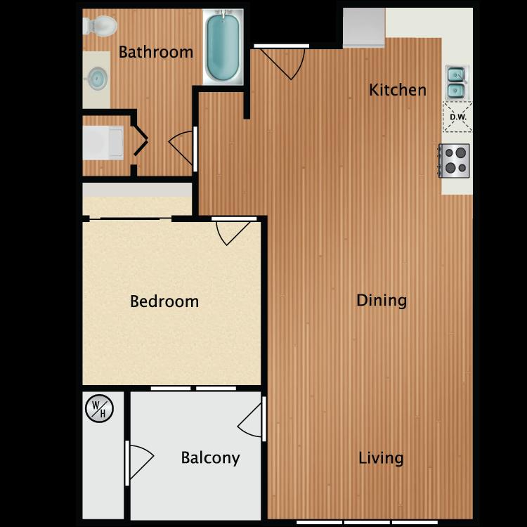 1X1A Floor Plan 3