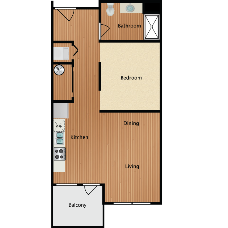0X1B Studio Alcove Floor Plan 2