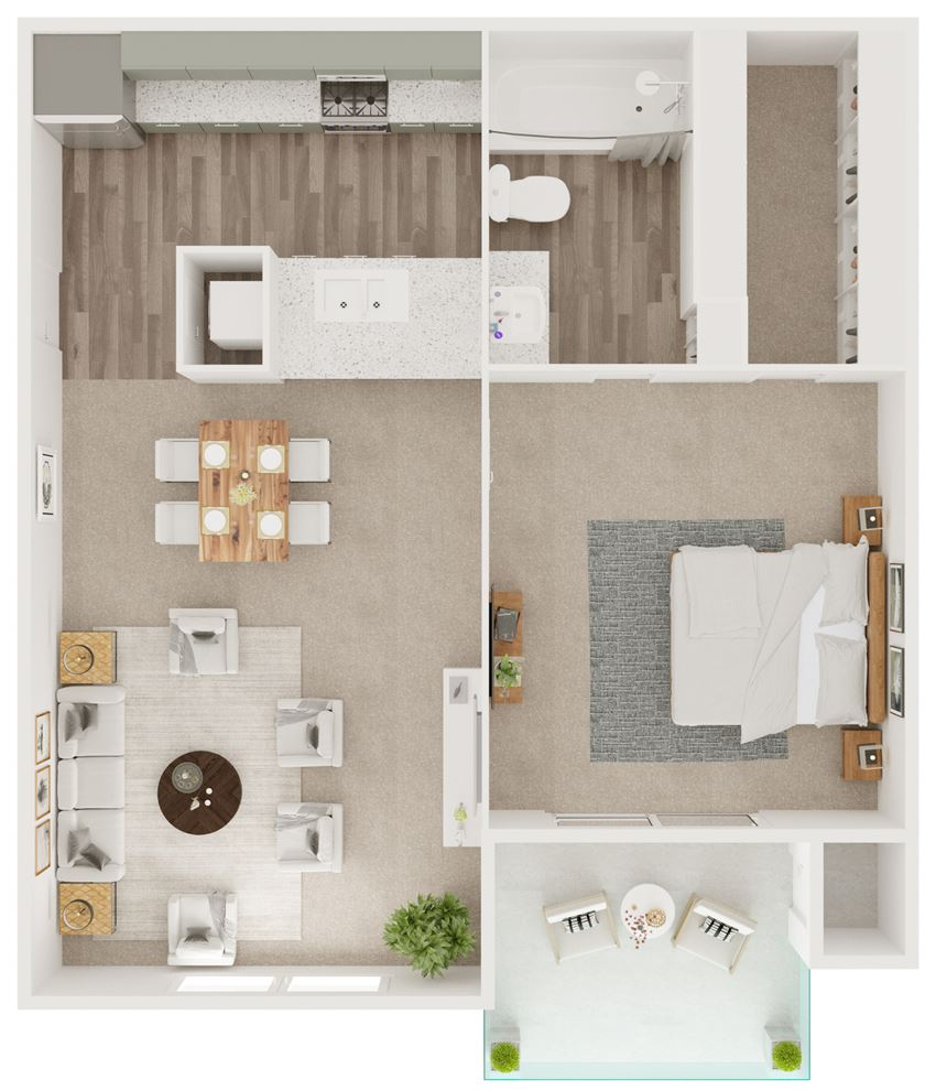 A1 - 518 sq ft. One Bedroom, One Bathroom - 5Fifty Apartment Homes 550 Heimer Rd, San Antonio, TX 78232