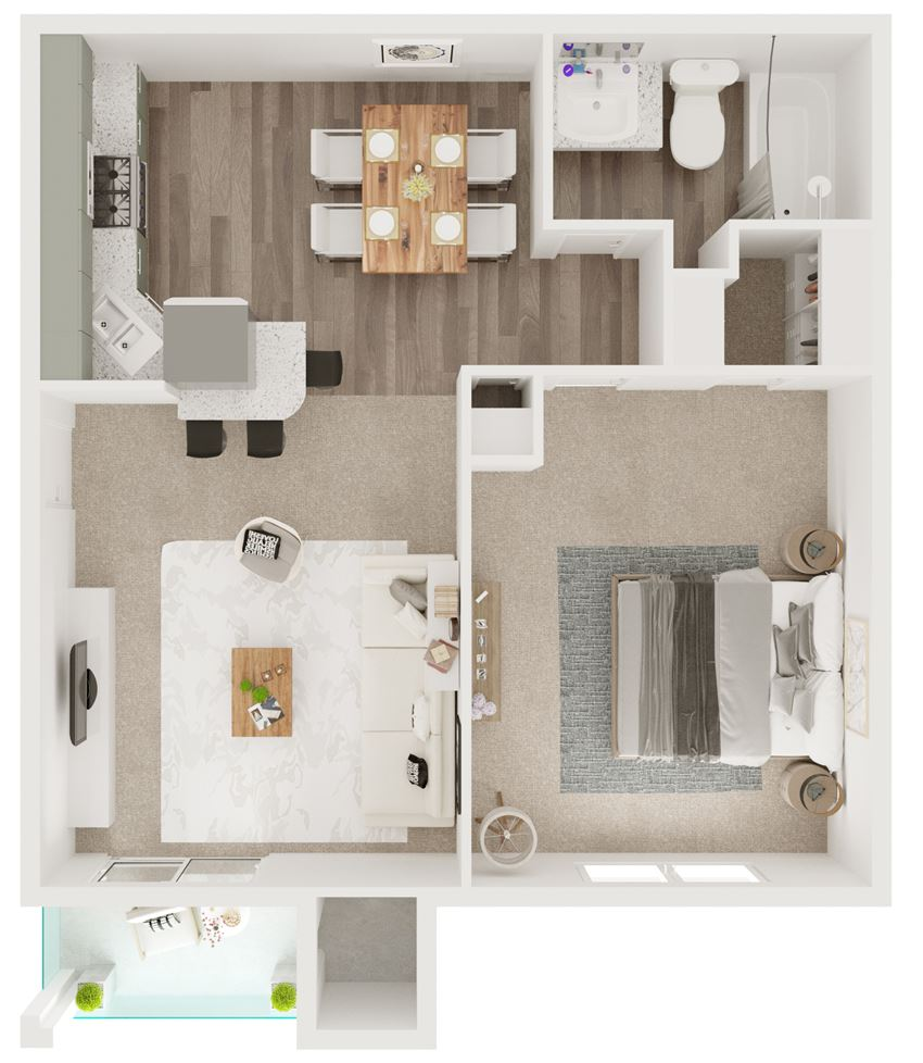A2 - 577 sq ft. One Bedroom, One Bathroom - 5Fifty Apartment Homes 550 Heimer Rd, San Antonio, TX 78232