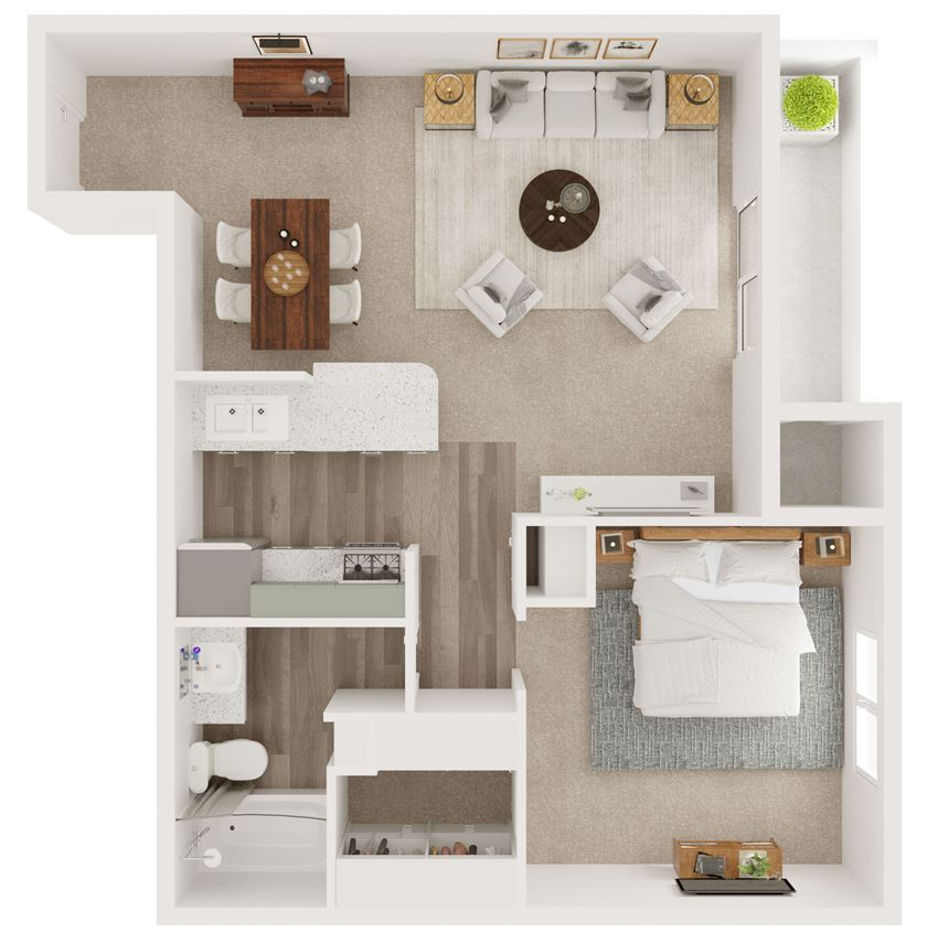 A3 840Sqft One Bed One Bath Floorplan at 5Fifty Apartments, San Antonio