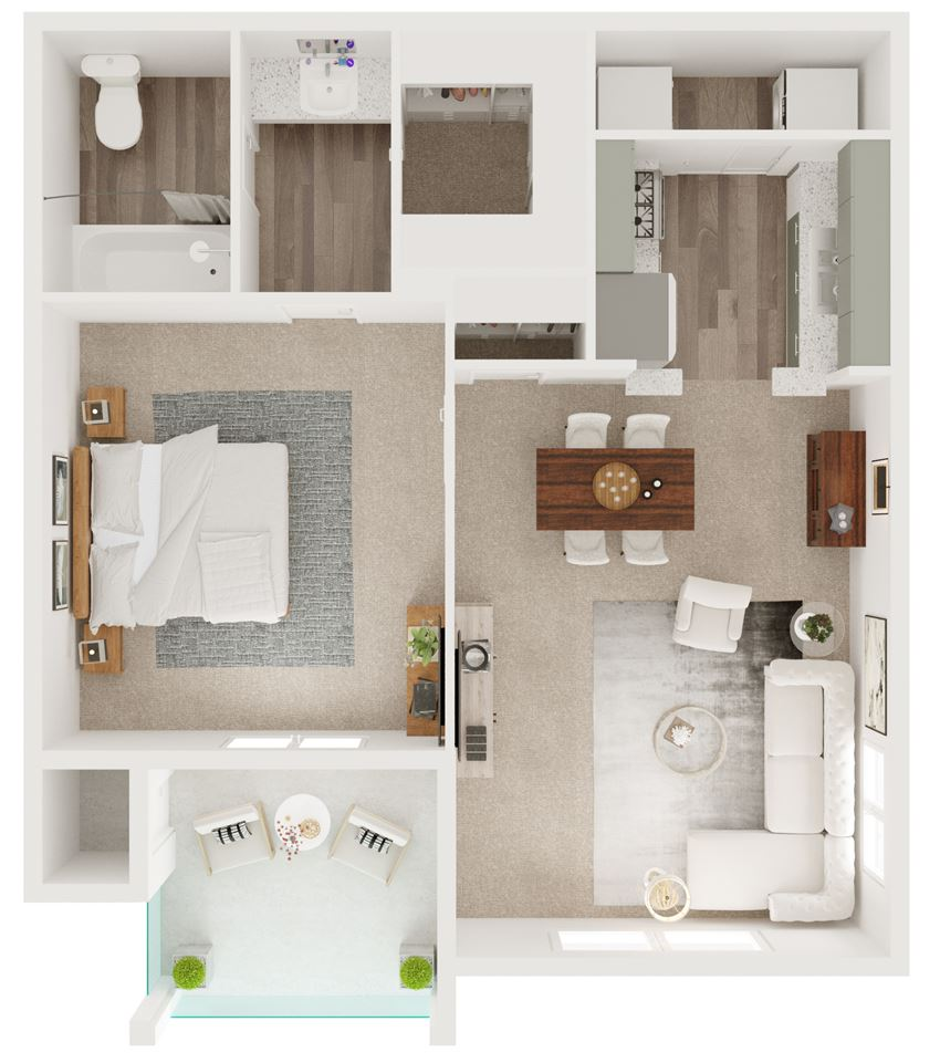 A5 - 593 sq ft. One Bedroom, One Bathroom - 5Fifty Apartment Homes 550 Heimer Rd, San Antonio, TX 78232