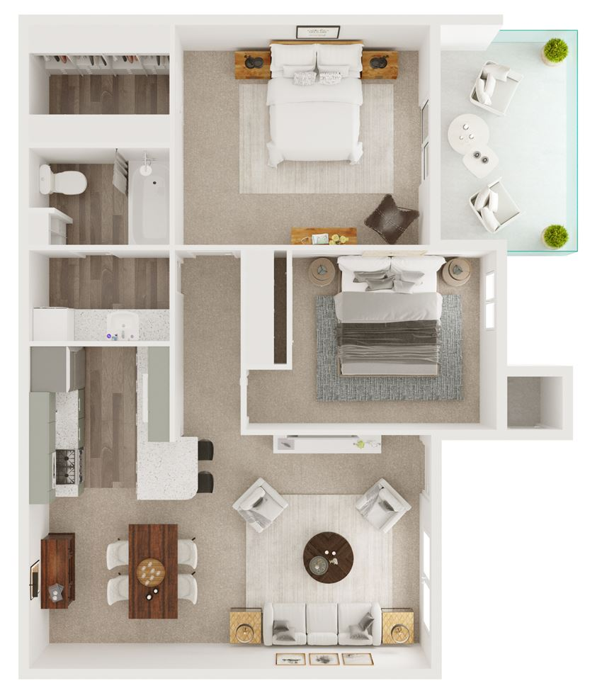 B1 - 850 sq ft. Two Bedrooms, One Bathroom - 5Fifty Apartment Homes 550 Heimer Rd, San Antonio, TX 78232