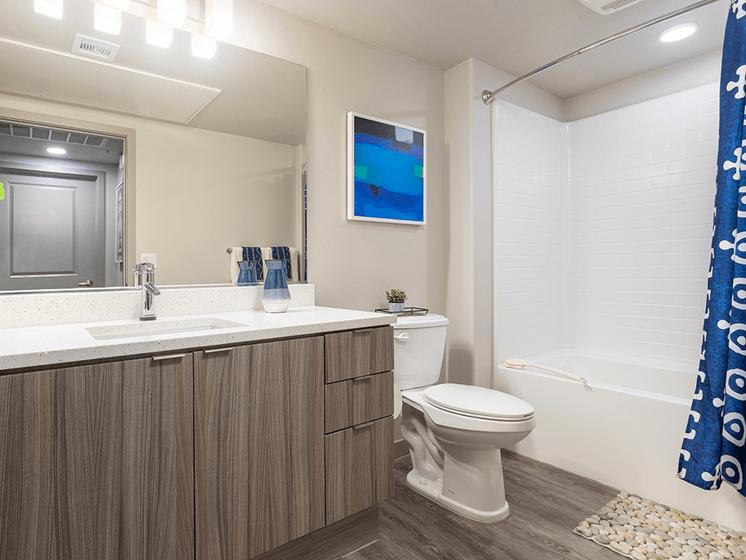 Large Vanity Storage in Washroom at Las Positas Apartments, California