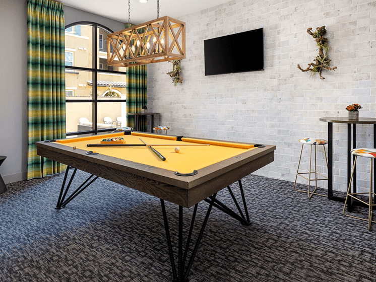 Billiards Table in Game Room at Las Positas Apartments, California